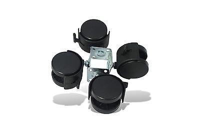 4x Möbelrollen mit Platte,Bremse Räder Lenkrolle Bockrollen Laufrollen 50mm