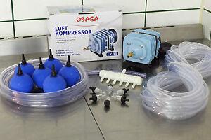 Luftkompressor 2100 L/h Teichbelüftung Sauerstoffpumpe Teichbelüfter Ausströmer