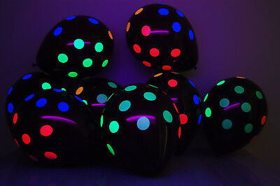 Black Latex 11 inch Neon UV Blacklight Reactive Polka Dot - Black Latex Balloons