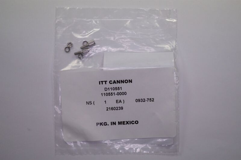 "D110551 ITT Cannon Jackscrew Socket Kit for D-Sub Connectors 0.220"" 4-40 NOS"