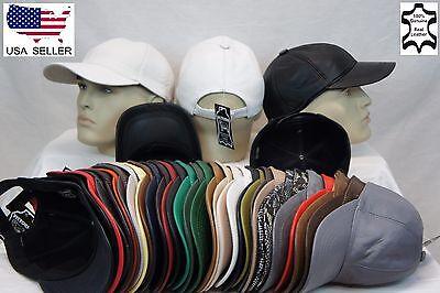 New 100% Real Genuine Lambskin Leather Baseball Cap Hat Sports Visor 32 COLORS - Genuine Baseball Hat