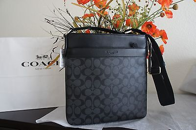 NWT Coach F54781 Men's Charles Crossbody Bag Black Charcoal PVC & Leather $295