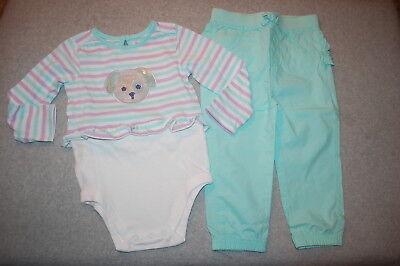 Baby Girls L/S BODYSUIT SHIRT Teal Lavender Stripe PUPPY DOG Ruffle Pants 24 MO