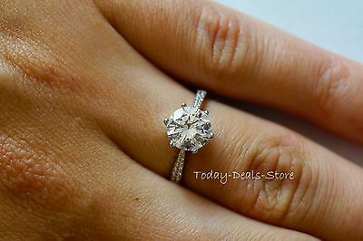 2 CT ROUND CUT ENGAGEMENT RING SI1 D 14k WHITE GOLD BRILLIANT