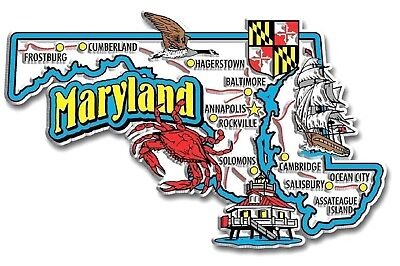 (Maryland Jumbo State Map Fridge Magnet)