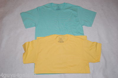 MENS Tee Shirt TWO LOT Bright Yellow SEA GREEN S 34-36 FRUIT OF THE LOOM Pocket - Fruit Of The Sea