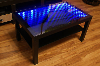 black table led 3d coffee table illuminated infinity mirror effect