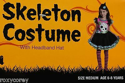 Halloween Skeleton Dress Costume with Headband Hat Size Medium 6-8 NWT