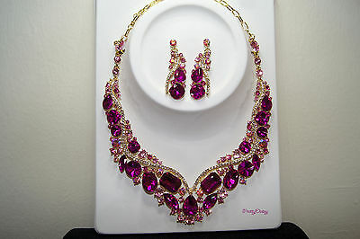 Sweet Sixteen Gold Fuchsia Pink Color Rhinestone Earring Necklace Set  ()