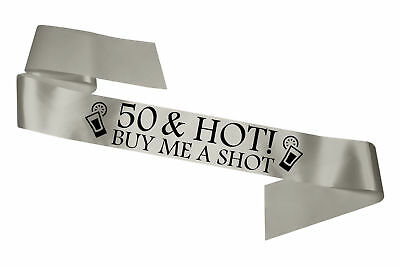 Silver 50 & Hot Birthday Sash Gift Present Legal Age Party Decoration Cheap - Cheap New Years Decorations