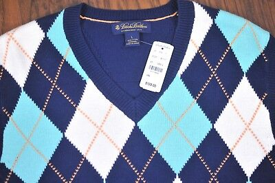 Cotton Argyle Sweater (NWT Brooks Brothers Wool Cotton Argyle Sweater Vest Men's Large)