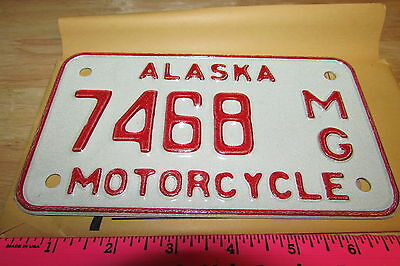 Alaska Motorcycle License Plate numbered 7468, NEW and Unused, expired in 1976