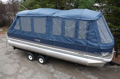 New 24  fish and fun Grand Island pontoon boat with full camper enclosure