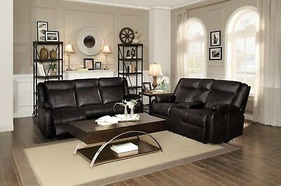 Leather Match Motion Sofa - BROWN LEATHER GEL MATCH RECLINING MOTION SOFA LOVESEAT LIVING ROOM FURNITURE SET