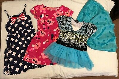 Lot of 3 girls dresses and 1 skirt, size 6-7, used