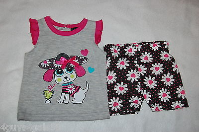 Baby Girls GRAY TANK TOP Pink Ruffle PUPPY DOG Glitter BLACK SHORTS Daisy 3-6 MO