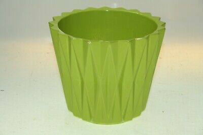 IVYLINE GREEN Cross Triangle Design Ceramic Garden Plant Flower Pot Ht 12cm