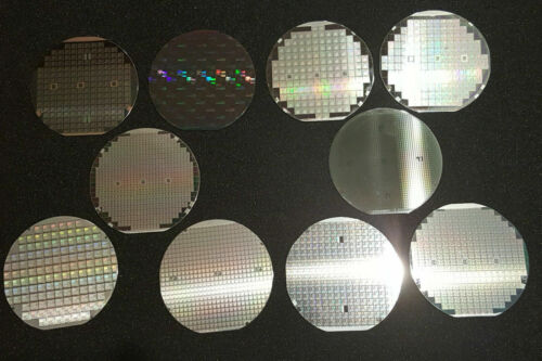 10 assorted four inch silicon wafers - All printed, All American, circa 1980s