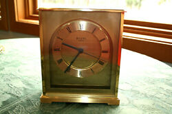 Vintage Bulova, Heavy Brass Quartz Mantel-Desk Clock, Made In Germany, Working
