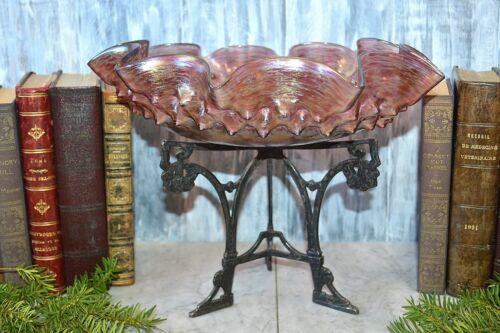Antique German Austrian Art Nouveau Iridescent Glass Bowl on Stand Heckert Loetz