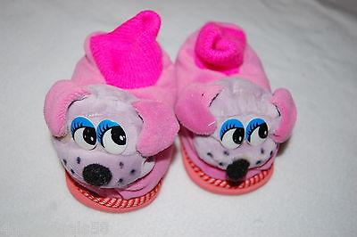 Toddler Girls PLUSH ANIMAL SLIPPERS Purple Dog Face HOT PINK TOP Puppy 6 7 8](Toddler Animals)