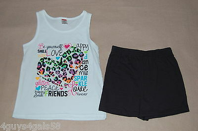 Girls Shorts Set WHITE TANK Be Yourself BLACK SHORTS XS 4-5 S 6-6X M 7-8 (Be Girl Clothing)