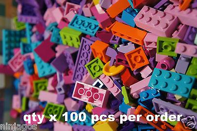 100 Pcs Bulk LEGO Lot Friends Girl Colors Assorted Brick Plates Studs