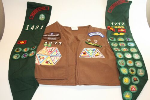 Vintage Girl Scouts Brown Vest and 2 Green Sashes with 75 Total Patches