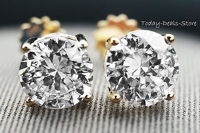 Round Earrings Studs 4 CT Solid 14K Yellow Gold Brilliant Cut Screw Back Basket