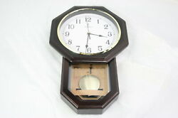 Lovely Home Essentials 43237-2 Pendulum Wall Clock Battery Power Wood 18 x 11 In