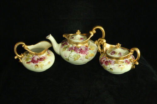 BEAUTIFUL ANTIQUE 100% HAND PAINTED FLORAL PICKARD 5 PIECE PORCELAIN TEA SET
