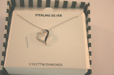 Macy's necklace sterling silver 1/10 CTTW diamond heart