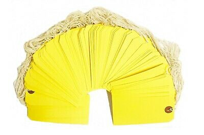 100 Yellow Tags 4 34 X 2 38 Size 5 Inventory Shipping Hang Tag With String