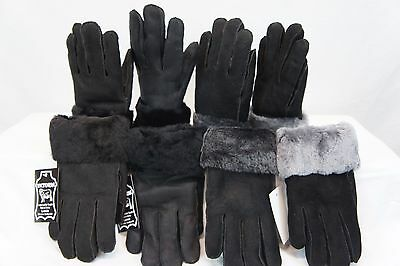 Real Genuine Sheepskin Shearling Leather Gloves Unisex Fur Winter 4 Colors M 2Xl