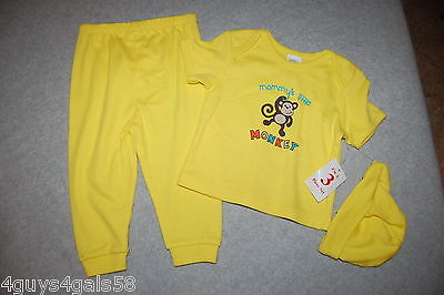 Baby Boys THREE PC SET Tee Shirt Pants Hat YELLOW Mommys Little Monkey 0-3 MO