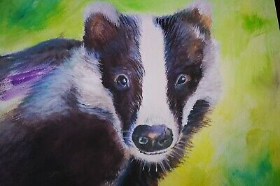 Original BADGER Watercolour Artboard A3 by Ray Statter