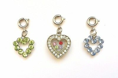 High Intencity Charm It! CRYSTAL FLOATING HEART or OPEN HEART Charm,*RETIRED*New Crystal Open Heart Charm