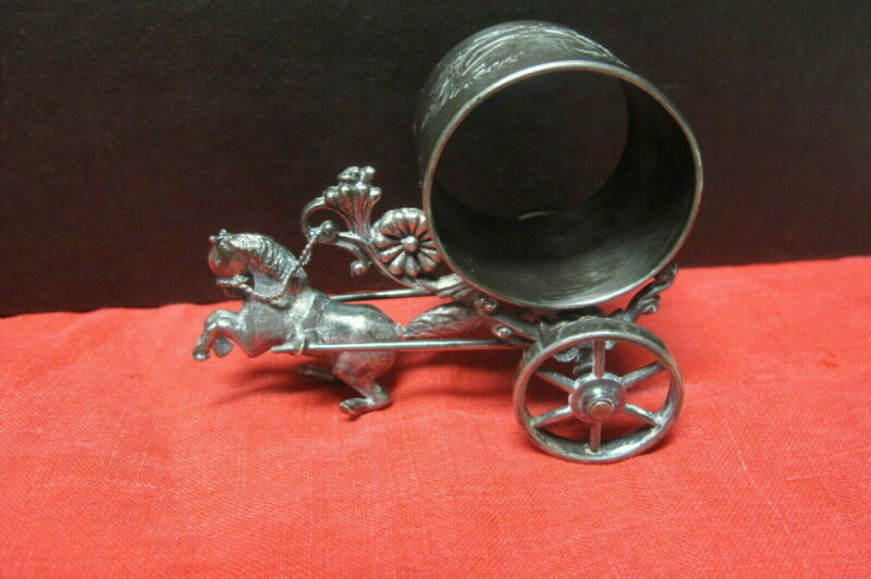 FABULOUS ANTIQUE MERIDEN SILVER CO FIGURAL NAPKIN RING HORSE PULLING A CART