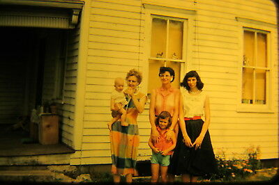 Vtg 1950s American Life 35mm Color Slide woman children dresses fashion house