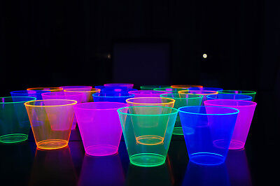 25 Neon Blacklight Reactive 9oz Party Cups with 5 Assorted Blacklight - Blacklight Parties