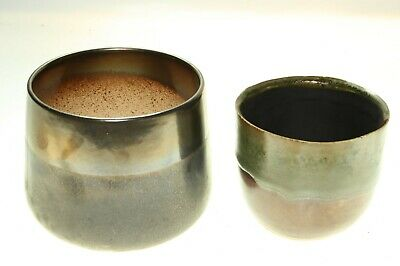 2 IVYLINE Dark Brown & Slate 1 Hand Made Plant Pots Height 10.5cm & 9cm