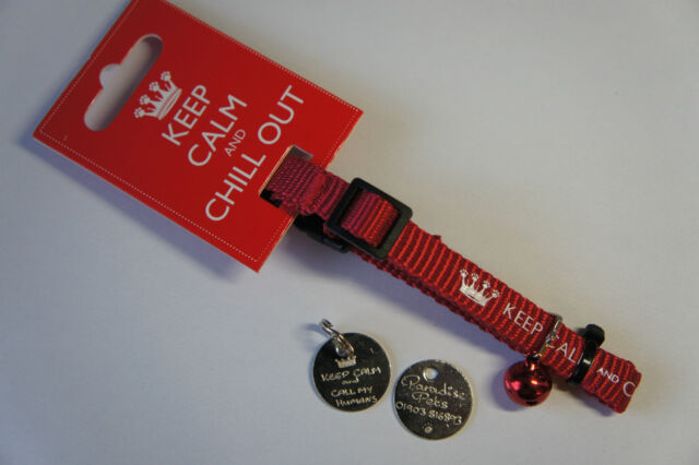 KEEP CALM CAT COLLAR AND TAG - KEEP CALM AND CALL MY HUMANS TAG & SAFETY COLLAR