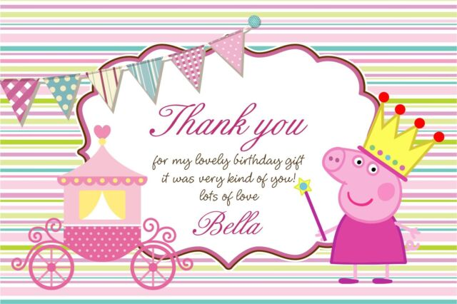 Personalised thank you cards princess peppa pig x 5 ebay personalised thank you cards princess peppa pig x 5 stopboris Image collections