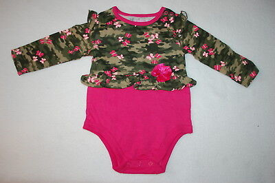 Baby Pink Camouflage T-shirt - Baby Girls L/S RUFFLED LAYETTE BODYSUIT T-SHIRT Green Camo PINK Butterfly 18 M0