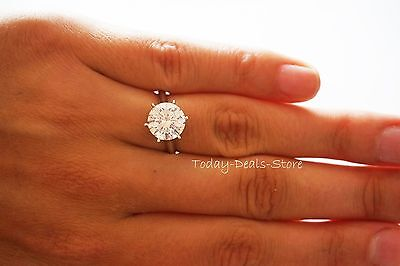 RING 4.0 CTW D/VVS ROUND CUT SOLITAIRE BRIDAL SOLID REAL 14K WHITE GOLD