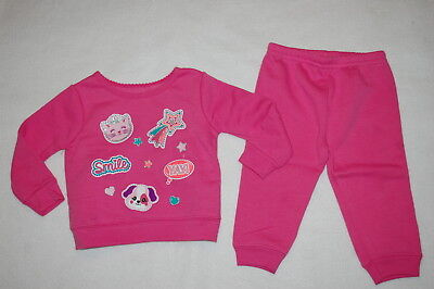 Baby Girls PINK SWEATSHIRT & SWEAT PANTS Cat Dog Smile Shooting Star 24 MO