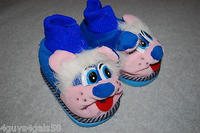 Toddler Girls PLUSH ANIMAL HEAD SLIPPERS Rubber Soles BLUE TOP Pink Face SIZE 6](Toddler Animals)