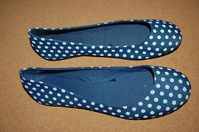 Womens Casual Ballet Flats BLUE DENIM LOOK w/ WHITE POLKA DOTS Fabric SIZE 9.5