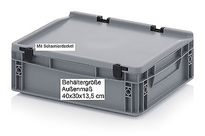 Behälter mit Scharnier-Deckel 40x30x13,5 Boxen stabil stapelbar lebensmittelecht