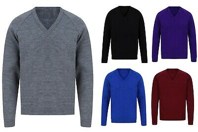 Mens V Neck Jumper Sweater Knitted Large Ex Store Boys Wool Look Size New